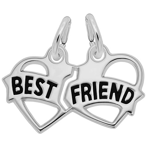 14K White Gold Best Friends Heart Charm by Rembrandt Charms