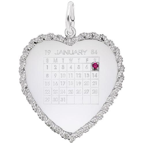 14k White Gold Birthstone Calendar by Rembrandt Charms