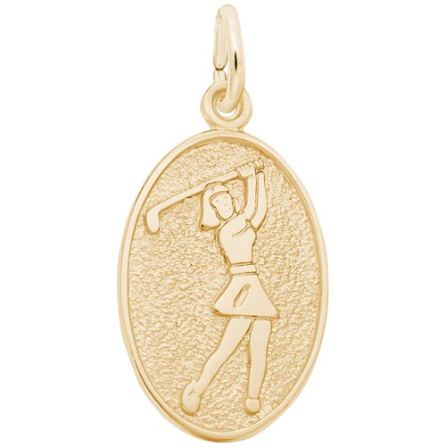 Gold Plated Female Golfer Charm by Rembrandt Charms