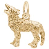 Gold Plate Wolf Charm by Rembrandt Charms