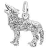 14K White Gold Wolf Charm by Rembrandt Charms