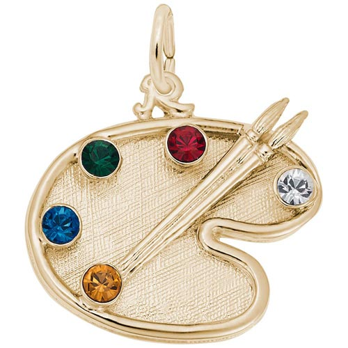 14K Gold Artist Palette and Stones Charm by Rembrandt Charms