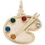 Gold Plated Artist Palette and Stones Charm by Rembrandt Charms