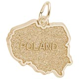 Gold Plated Poland Map Charm by Rembrandt Charms