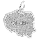 Sterling Silver Poland Map Charm by Rembrandt Charms