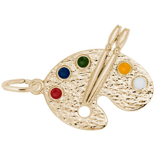 Gold Plated Artist Palette Charm by Rembrandt Charms
