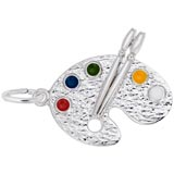 14K White Gold Artist Palette Charm by Rembrandt Charms