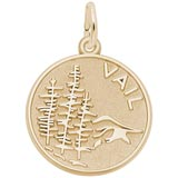 Gold Plate Vail Mountain Scene Charm