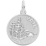 14K White Gold Vail Mountain Scene Charm