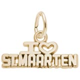 Gold Plate I Love St. Maarten Charm by Rembrandt Charms