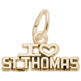 Gold Plate I Love St. Thomas Charm by Rembrandt Charms