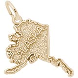 Gold Plated Alaska Map Charm by Rembrandt Charms