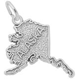 14K White Gold Alaska Map Charm by Rembrandt Charms