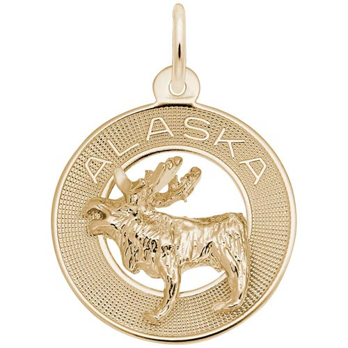14K Gold Alaska Moose Ring Charm by Rembrandt Charms