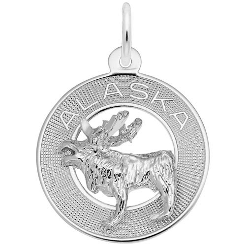 Sterling Silver Alaska Moose Ring Charm by Rembrandt Charms