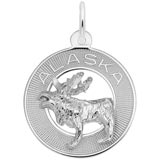 14K White Gold Alaska Moose Ring Charm by Rembrandt Charms