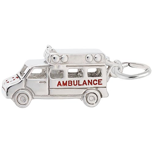 14K White Gold Ambulance Charm by Rembrandt Charms