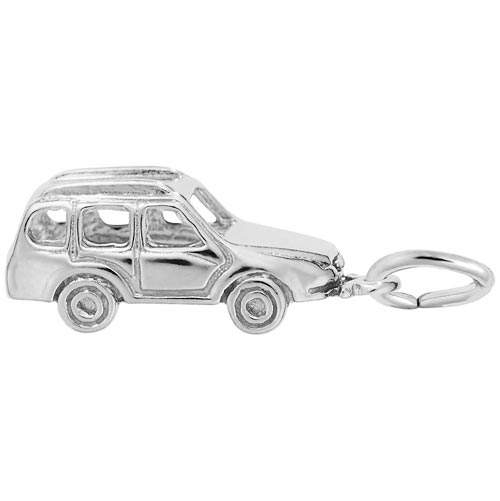 14K White Gold European Taxi Cab Charm by Rembrandt Charms