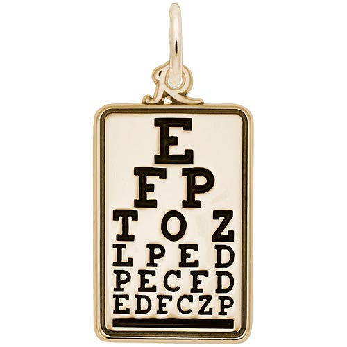 Gold Plated Eye Exam Chart Charm by Rembrandt Charms