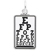 14K White Gold Eye Exam Chart Charm by Rembrandt Charms
