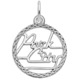 14K White Gold Park City Utah Faceted Charm by Rembrandt Charms