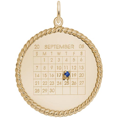 Gold Plate Birthstone Calendar Disc Charm by Rembrandt Charms