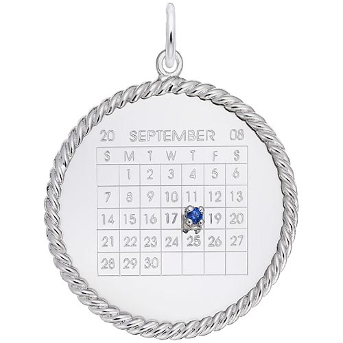 14k White Gold Birthstone Calendar Disc Charm by Rembrandt Charms