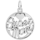 14K White Gold Super Mom Charm by Rembrandt Charms
