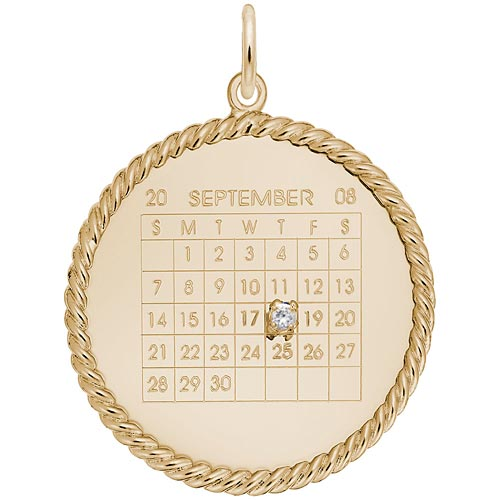 Gold Plate Diamond Rope Calendar Charm by Rembrandt Charms
