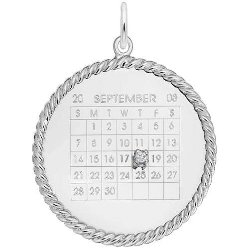 14K White Gold Diamond Rope Calendar Charm by Rembrandt Charms