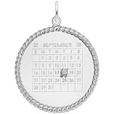 Sterling Silver Diamond Rope Calendar Charm by Rembrandt Charms