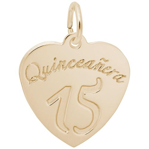 14k Gold Quinceanera Heart Charm by Rembrandt Charms