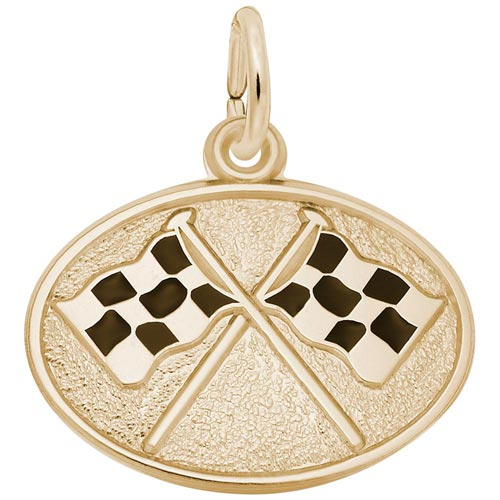 14k Gold Racing Flags Charm by Rembrandt Charms