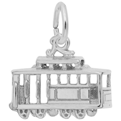 14K White Gold Cable Car Charm by Rembrandt Charms