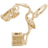 Gold Plated It's Twins Stork Charm by Rembrandt Charms