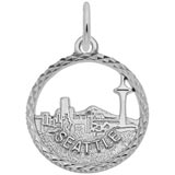 Sterling Silver Seattle Skyline Faceted Charm by Rembrandt Charms