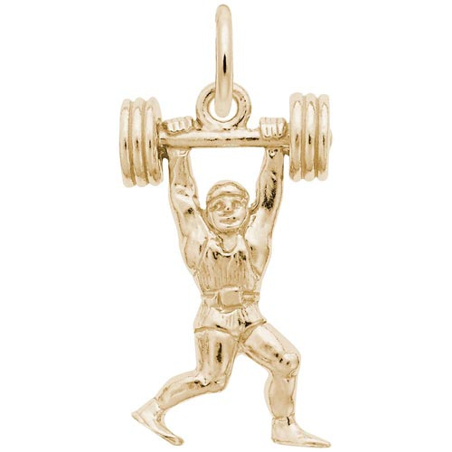 14K Gold Weight Lifter Charm by Rembrandt Charms