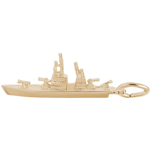 Gold Plate Naval Ship Charm by Rembrandt Charms