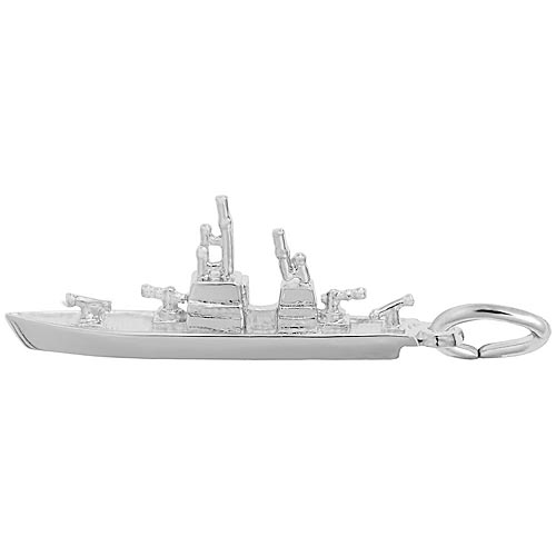 14K White Gold Naval Ship Charm by Rembrandt Charms