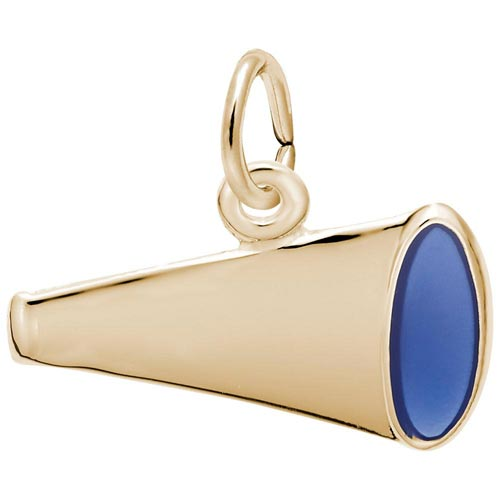 Gold Plated Flat Painted Megaphone Charm by Rembrandt Charms