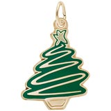 Gold Plated Green Christmas Tree Charm by Rembrandt Charms