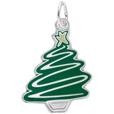 14K White Gold Green Christmas Tree Charm by Rembrandt Charms