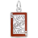 14K White Gold Queen of Hearts Card Charm by Rembrandt Charms