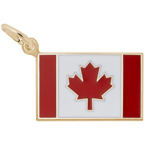 14K Gold Painted Canadian Flag Charm by Rembrandt Charms