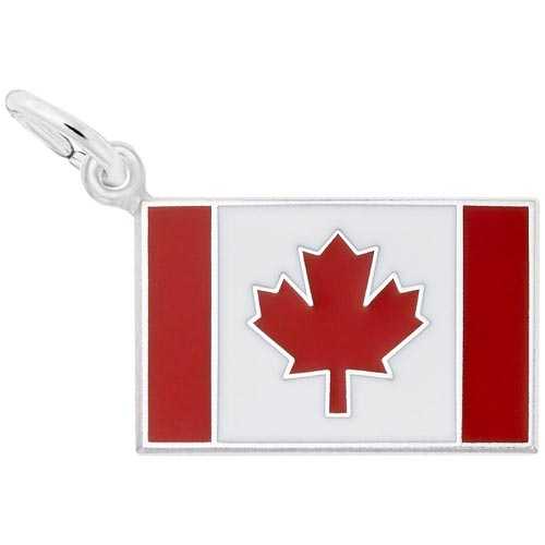 Sterling Silver Painted Canadian Flag Charm by Rembrandt Charms