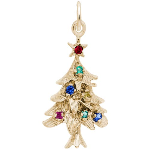 14K Gold Stone Christmas Tree Charm by Rembrandt Charms