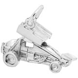 14K White Gold Winged Sprint Car Charm by Rembrandt Charms