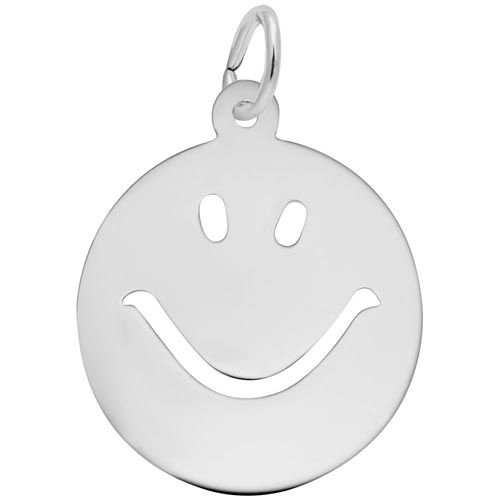 14K White Gold Happy Face Charm by Rembrandt Charms