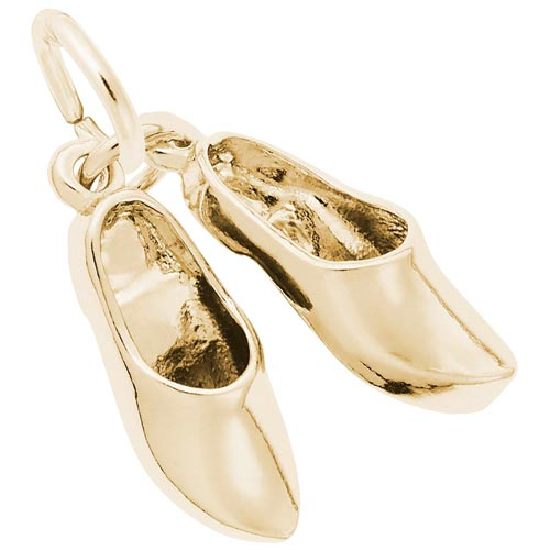 Gold Plate Pair of Clog Shoes Charm by Rembrandt Charms