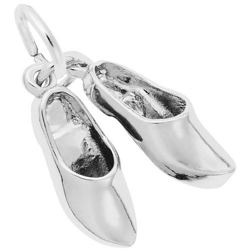 14K White Gold Pair of Clog Shoes Charm by Rembrandt Charms